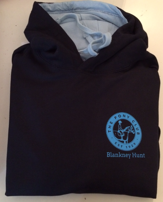 Adults Navy/ light blue inside hood Blankney Pony Club Hoodie