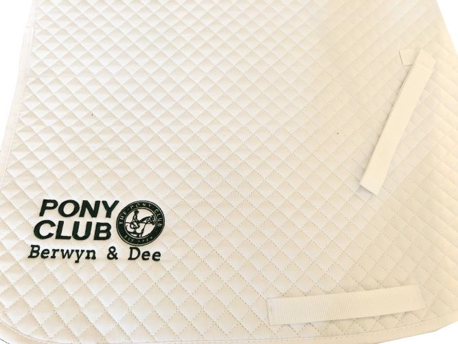 Berwyn and Dee Pony Club embroidered White  GP Saddlecloths