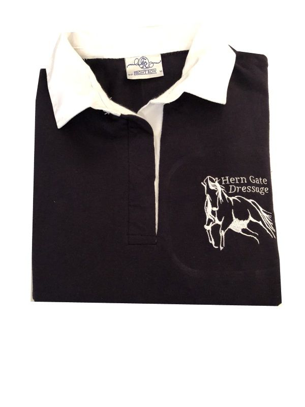 CHILD Hern Gate Dressage Navy Long Sleeved Rugby Shirt