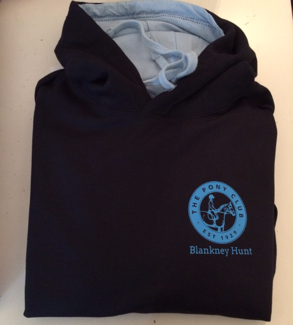 Children's Navy/ light blue inside hood Blankney Pony Club Hoodie