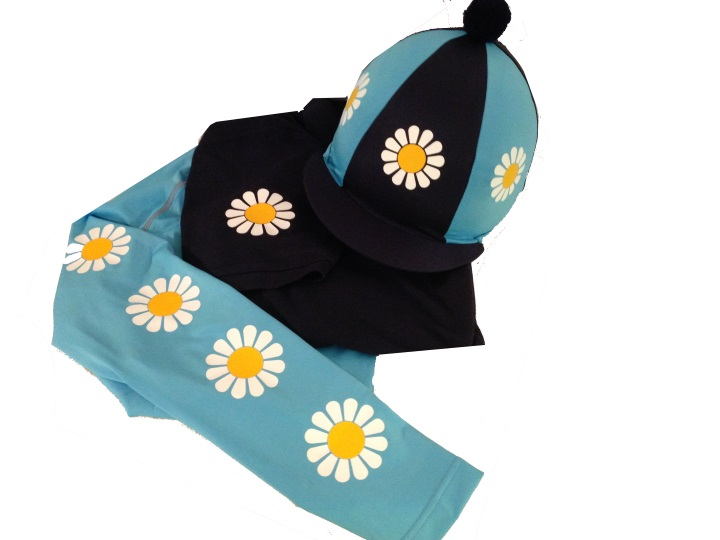 Children's Sky Blue/Navy Daisy Base Layer, polo and silk