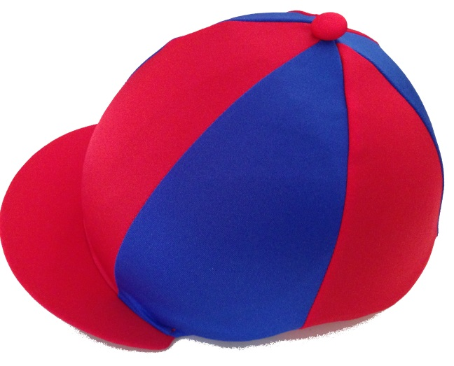 Grafton Hunt Lycra Hat Silk Red/Royal Blue.With Alternate Spots