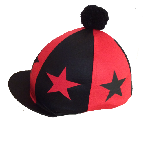 Herts Hunt Pony Club  PC Silk Red/Black with alternate large stars and Black Pompom