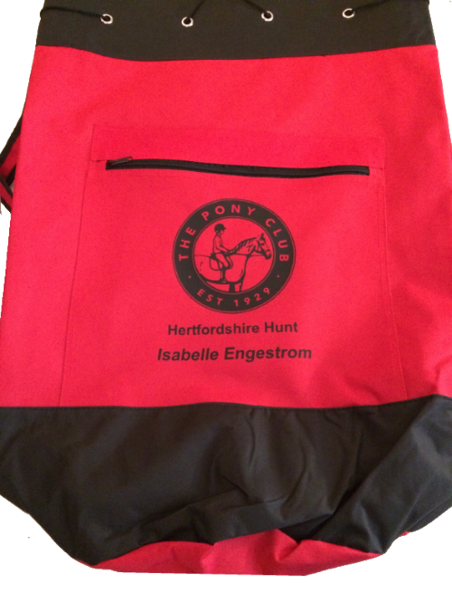 Herts Hunt Pony Club Red Personalised Kit Bag