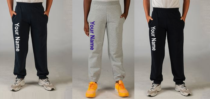 Kids Cuffed Hem Joggers with name down the leg