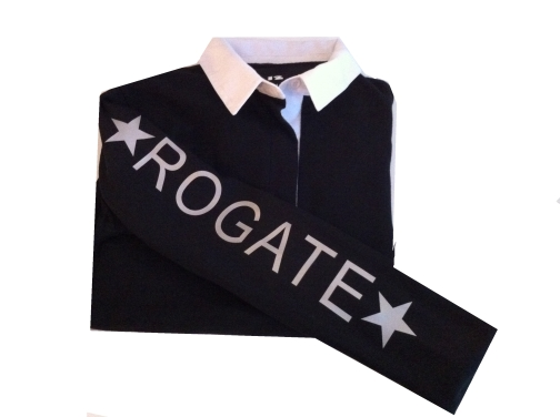 Ladies Fit Black Rugby Shirt With Rogate Down The Sleeves