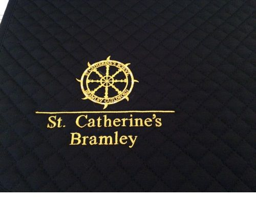 St Catherines Navy Saddlecloth with Golden Yellow Logo
