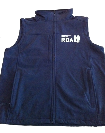 Women's Navy Flux Softshell Bodywarmer with RDA logo and group name